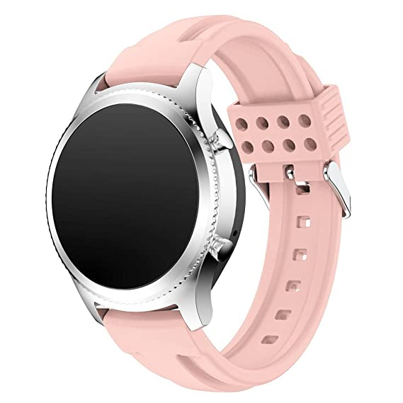 Gear S3 Bands Silicone, Maxjoy S3 Classic/Frontier Band 22mm Soft Rubber Replacement Strap Small Large Wristband Bracelet with Stainless Steel Metal ...
