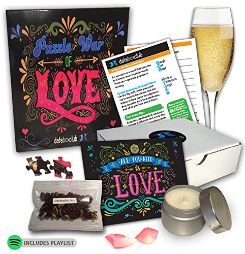 Date Night Box- Our Puzzle War Date Night is specially designed for 2 people, and can be played multiple ways. This is a Creative Date Night for Couples and is Ready to Open and Enjoy.