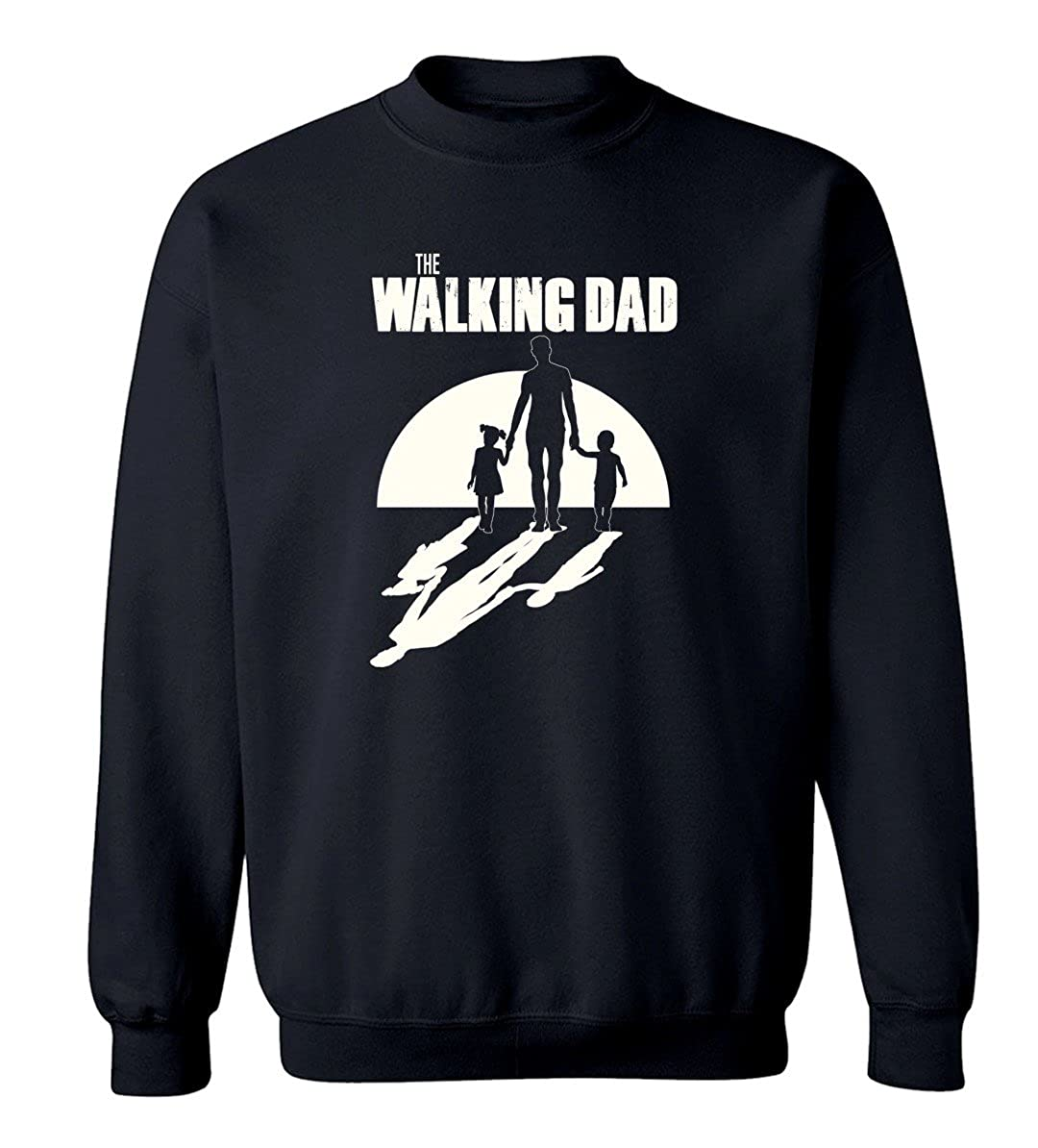 Fathers Day Gift The Walking Dad Graphic Design Crew Neck Sweatshirt