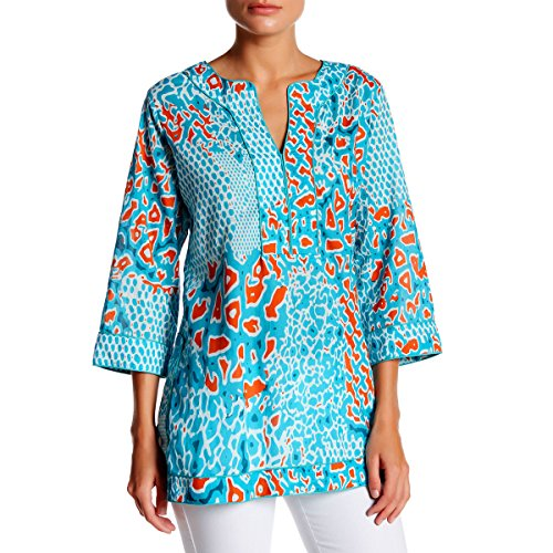 KC Signatures Women's 100% Cotton Watercolor Printed Top Tunic Blouse with Piped Trim Details (Small)
