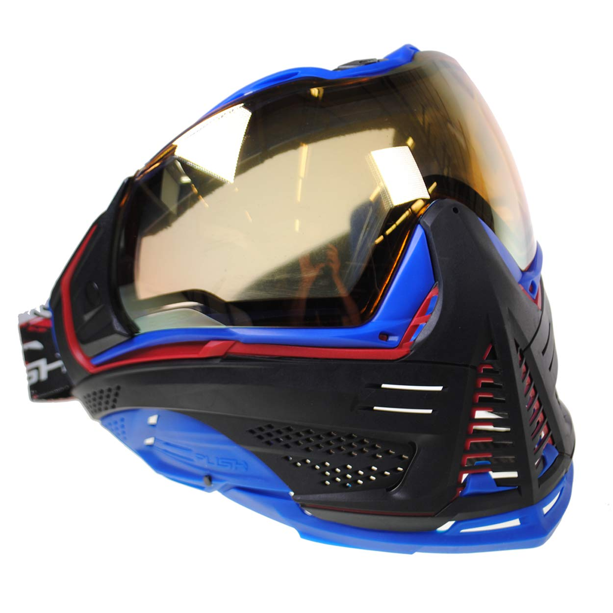Push Unite Paintball Goggles MASK with Quad PANE Lens and CASE (Red and Blue Gold Lens) by Push Paintball