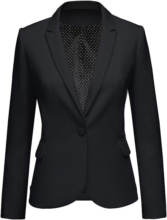 Womens Notched Lapel Pocket Button Work Office Blazer Jacket Suit