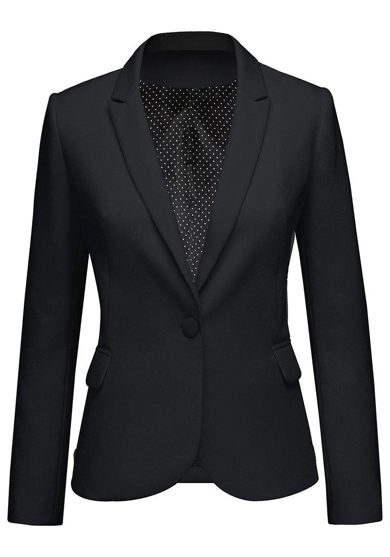 LookbookStore Women's Black Notched Lapel Pocket Button Work Office Blazer Jacket Suit Size L by LookbookStore