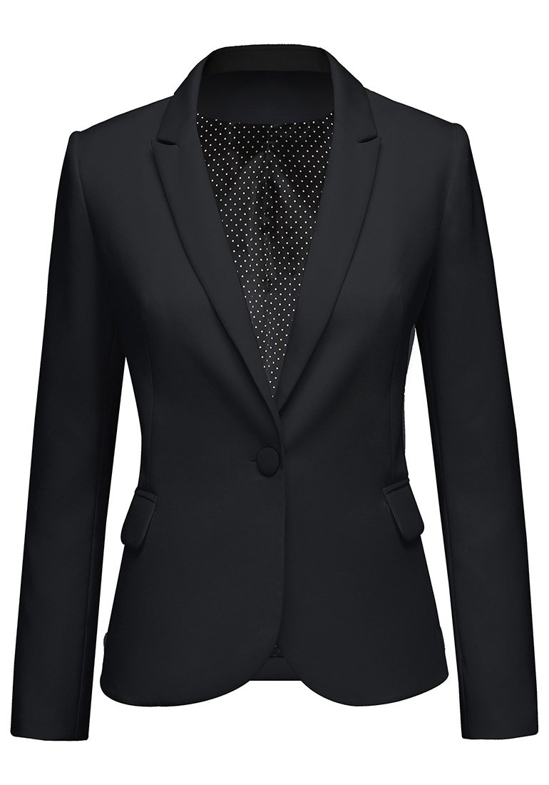 Lookbook Store Women's Black Notched Lapel Pocket Button Work Office Blazer Jacket Suit Size L