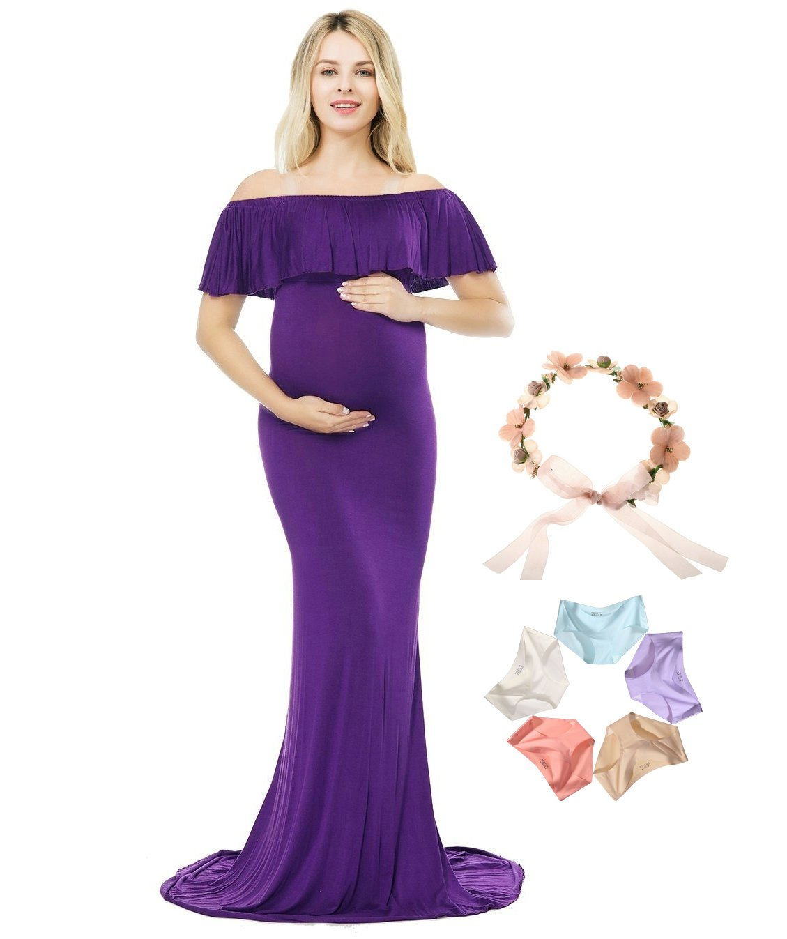 Sannyway Photoshoot Maternity Dress Ruffle Off Shoulder Photography Maxi Gown (Purple, L)
