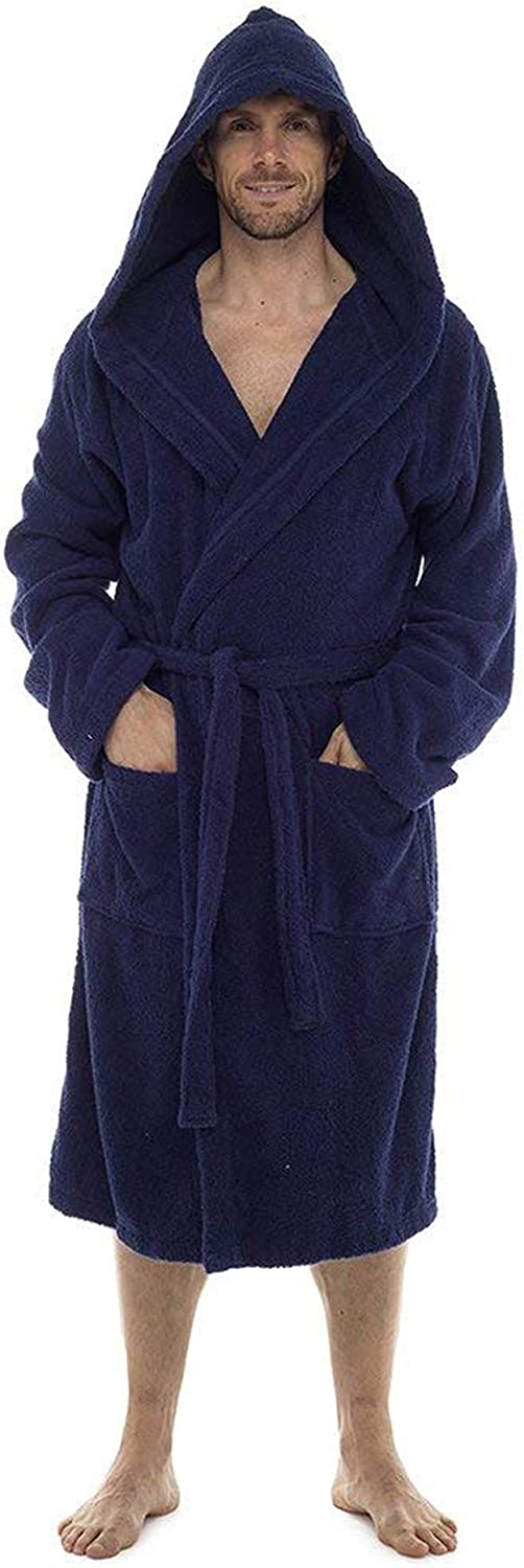 Men Towelling Robe 100/% Cotton Terry Towel Bathrobe Dressing Gown Bath Perfect for Gym Shower Spa Hotel Robe Holiday