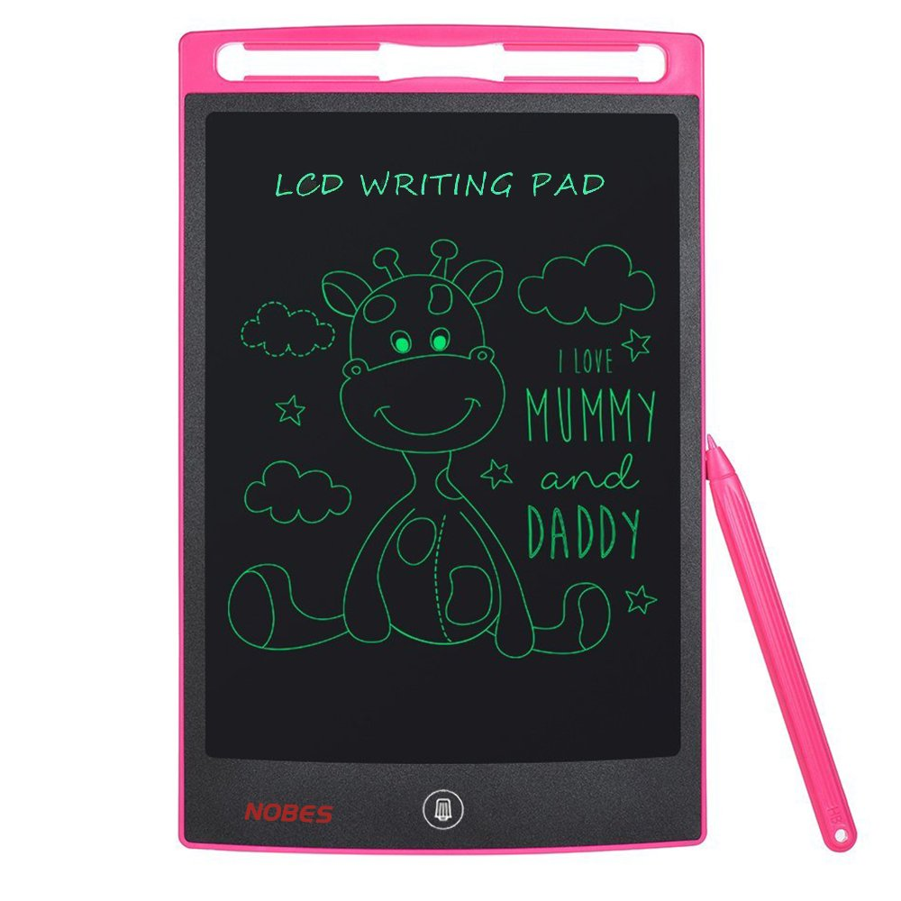 Nobes Newest LCD Writing Tablet 8.5 inch (Upgrade Brightness), Electronic Writing Doodle Pad Digital Drawing Board eWriter, As Office Whiteboard Bulletin Board Memo Notice and Gifts for Kids (Pink)