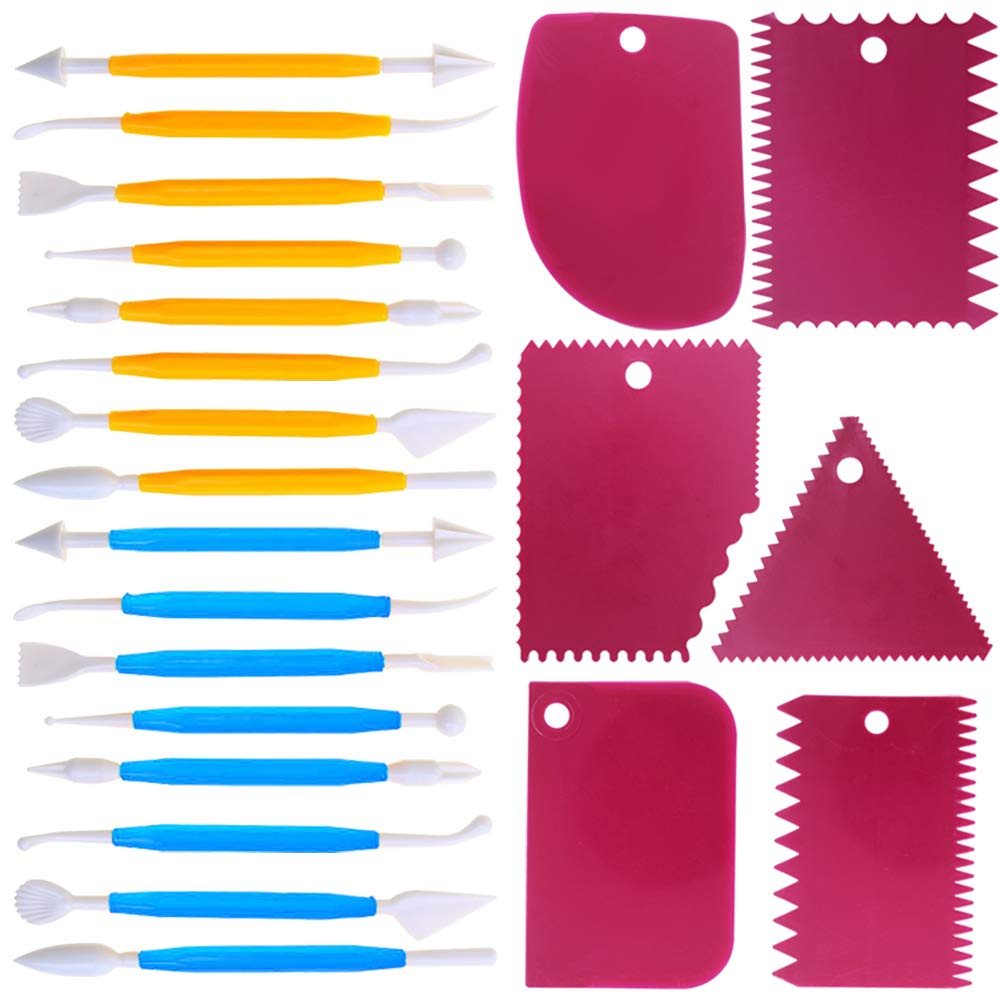 Cake Scraper Smoother and Fondant Kits, DaKuan Fabulous 6 Pcs Cake Decorative Scrapers Polisher and 16 Pcs of Cake Modeling and Sculpting Tools