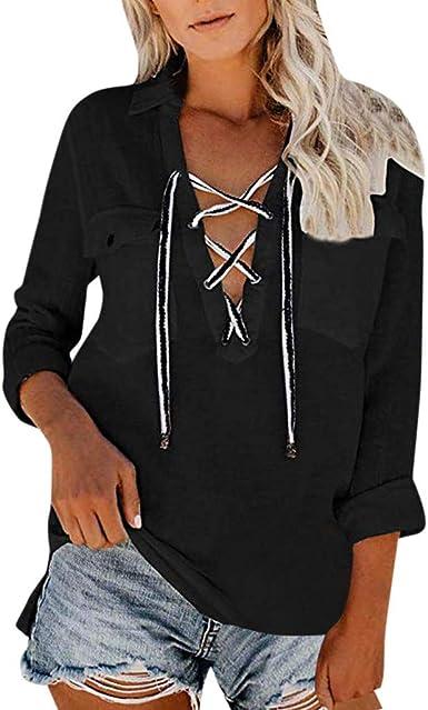 Camisas Mujer Blusas de Fiesta Mujer Blusa Superior de Bolsillo Blusas de Manga Larga para Mujer Casual Work Top Lace Up V Neck Fashion Shirts Camisa de Mujer Color Liso LiNaoNa: Amazon.es: