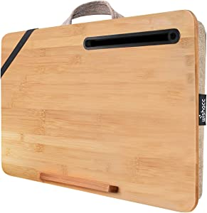 "wishacc Home Office Lap Desk Portable Bamboo Laptop Lap Desk Accessories (Fits up to 17.3"" Laptop)"