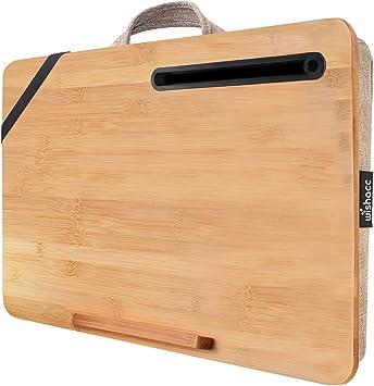 Wishacc Bamboo Lap Board with Cushion