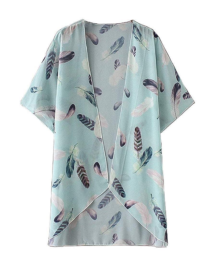 Womens Floral Print Kimonos Loose Tops Half Sleeve Shawl Chiffon Cardigan Blouses Casual Beach Cover Ups