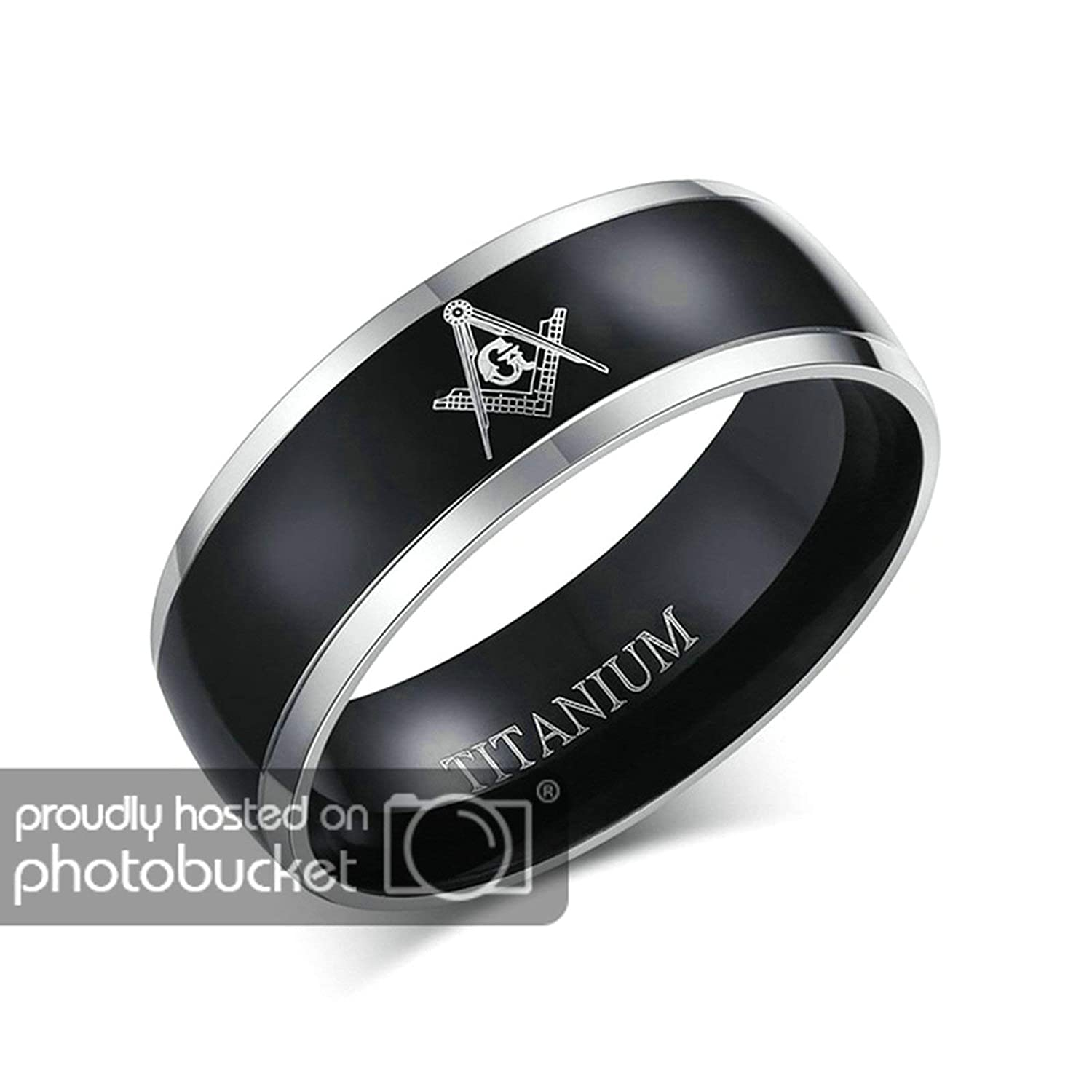Aooaz Jewelry Wedding Ring 8Mm Rings Ring Silver Black Masonic Rings for Couple Ring