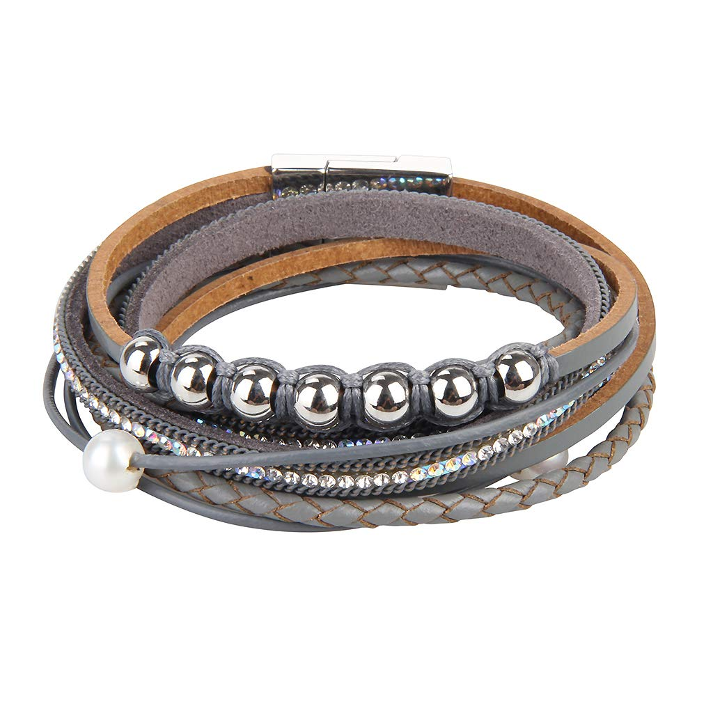 Pearl Rope Wrap Bangle Crystal Cuff Wristband for Girl Popeoiuh Women/'s Leather Braided Bracelet Mom Birthday Gift
