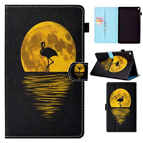 Uliking Fire HD 10 Tablet Case (7th Generation 2017 & 5th Gen 2015 Release PU Leather Folio Stand with Card & Stylus Slot Auto Sleep/Wake Cover for Amazon Fire HD 10.1 Inch, Night Flamingos -