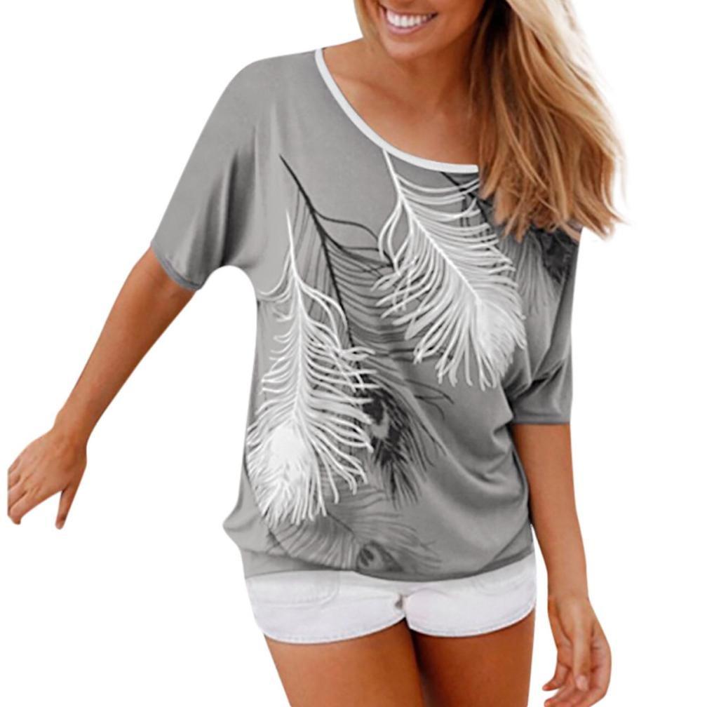 Blusas y camisas Mujer, ❤️Koly Camisetas y tops de Blusa de Mujer Sudadera O cuello Manga corta Impreso Sudaderas con Capucha Jersey T Shirt Sweatshirt: ...