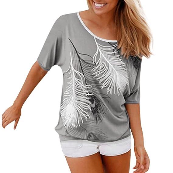 Blusas y camisas Mujer, ❤️Koly Camisetas y tops de Blusa de Mujer Sudadera O