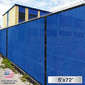 Windscreen4less Fence Privacy Screen 5' x 72', Blue, Heavy Duty Privacy Fencing, Commercial grade 180 GSM, 95% privacy Blockage, Mesh Fabric with brass Gromment, Customized Sizes Available