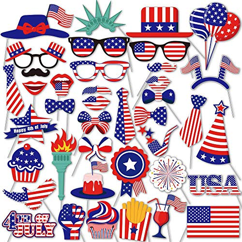 EvaGO 4th of July Photo Booth Props for American Independence Day Veteran's Day Patriotic Party Labor Day Memorial Day Supplies Decorations, 40 Count