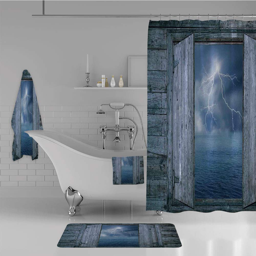 Bathroom 4 Piece Set Shower Curtain Floor mat Bath Towel 3D Print,at Night from Window in A Seaside House Forces,Fashion Personality Customization adds Color to Your Bathroom.