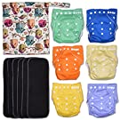 Garden Party 13-Piece Baby Gift Set - Pack of 6 Cloth Diapers, 6 Bamboo Charcoal Inserts and WetDry Bag, Baby Gift All in One Cloth Diaper Set B