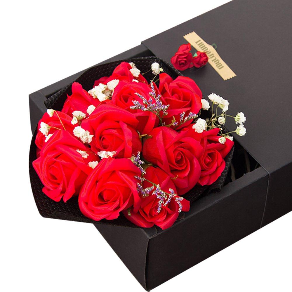 MyLifeUNIT Handmade Soapローズ花、香り風呂石鹸ローズ花びら、赤バラ花束ギフトボックス B078TG9G3F