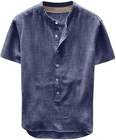 NOBRAND Camisa de verano para hombre caliente de cáñamo puro ...