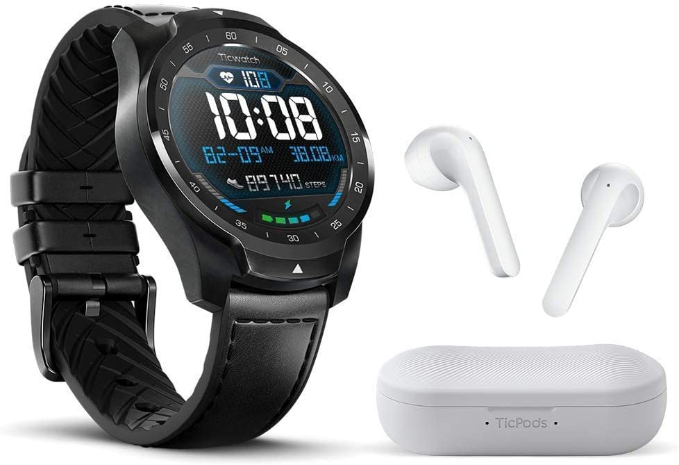 TicWatch Bundle with Ticwatch Pro 2020 Smartwatch 1GB RAM, GPS Dual Display - Black + TicPods 2 True Wireless Earbuds - Ice