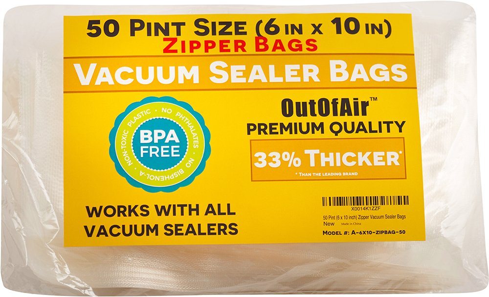 "50 Zipper Vacuum Sealer Bags: Pint Size (6"" x 10"") - OutOfAir Vacuum Sealer Zip Bags for Foodsaver, Weston, Other Savers. 33% Thicker BPA Free FDA Approved Commercial Grade Great for Snacks On The Go"