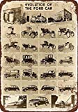 1946 Evolution of the Ford Car Vintage Look Reproduction Metal Tin Sign 12X18 Inches