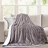Micromink Flannel Throw Blanket, Reverses to Sherpa, Fuzzy Mink Cozy Warm Fluffy Velvety Home Fashion (60'' x 80'')  Grey