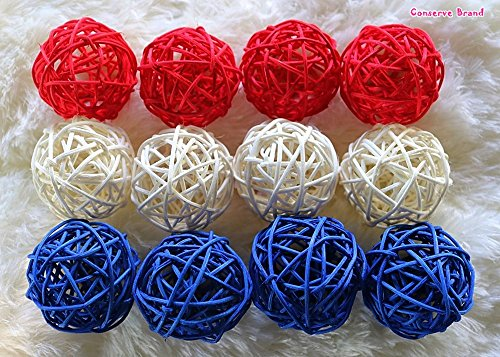 Thailand's Gifts : Small Blue, White, Red Rattan Ball, Wicker Balls, DIY Vase And Bowl Filler Ornament, Decorative Spheres Balls, Perfect For Decoration On Any Occasion 2-2.5 inch, 12 (Red White Blue Decorations)
