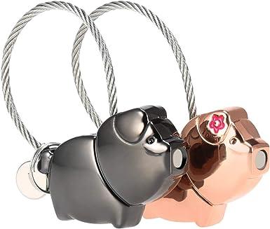 Parejas Llaveros, Llaveros Magnéticos Desmontables, Llaveros de Cerdo Besándose, para Parejas Mujer y Hombre, Gris y Oro Rosa, Handy Picks (1 Par): Amazon.es: Ropa y accesorios