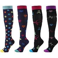 Tomshin 4 pares de meias de compressão para homens e mulheres meias esportivas profissionais.