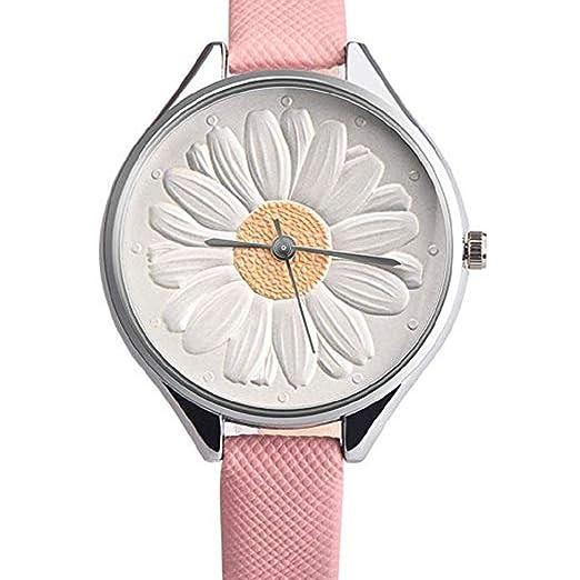 Mujeres Relojes de Cuarzo Liquidación 3D Girasol Floral Analógico Relojes de Las señoras