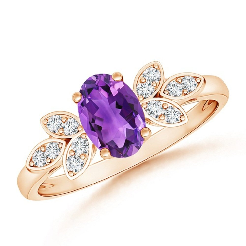 Oval Shape Solitaire Purple Amethyst /& CZ Diamond 14k Rose Gold Plated Engagement Wedding leaf Ring