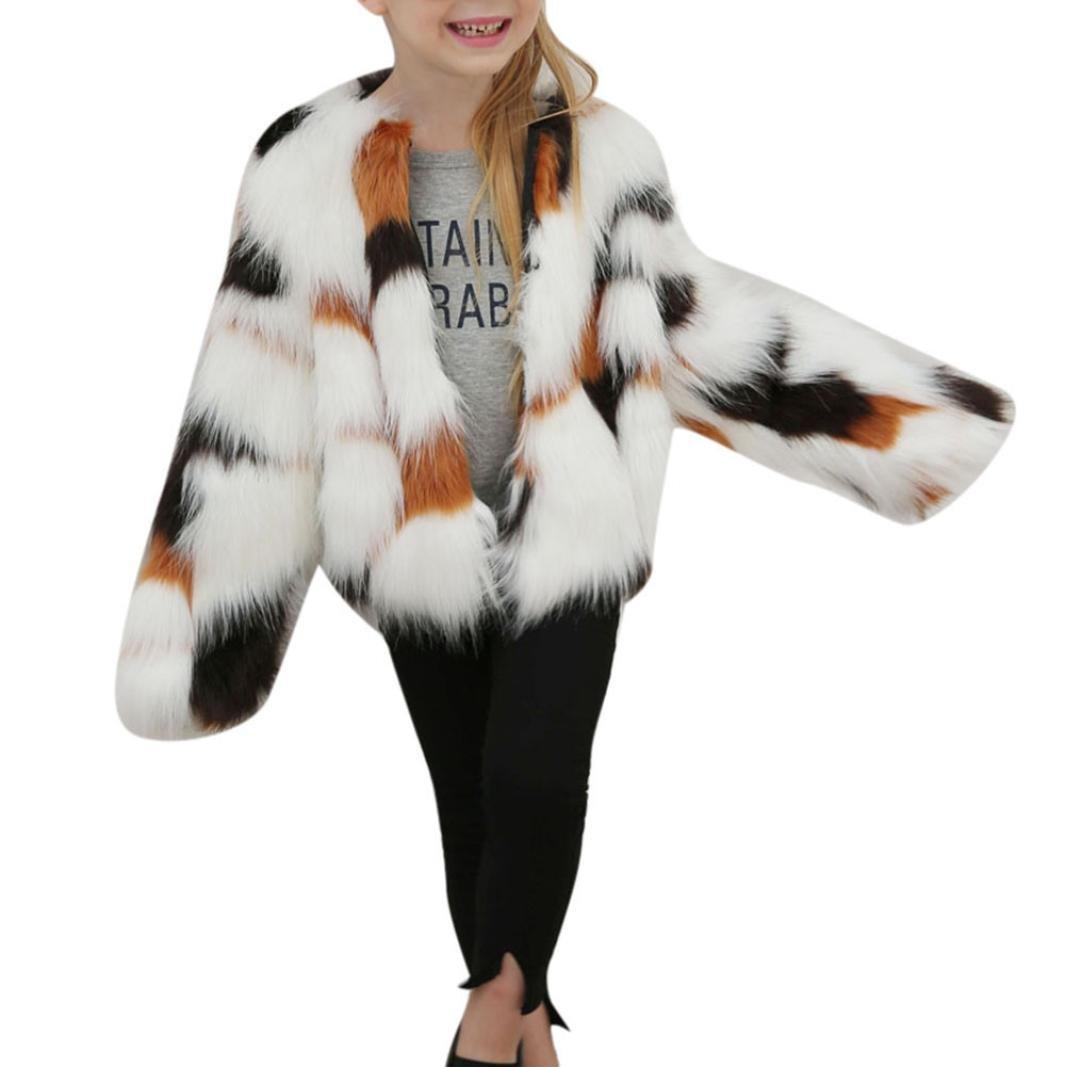Remiel Store Kids Baby Girls Autumn Winter Splice Faux Fur Thick Warm Outwear Coat Jacket (3T, Brown)