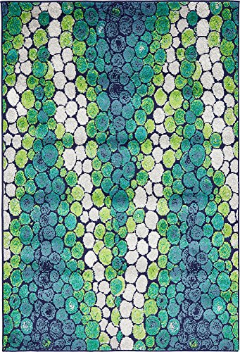 Unique Loom Metro Collection Abstract Water Drops Circles Bright Colors Light Green Area Rug (4' 0 x 6' 0)