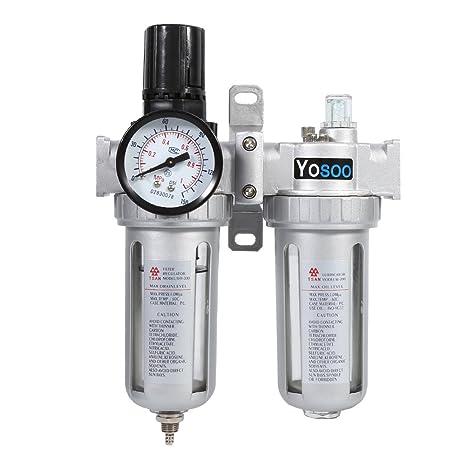 Yosoo Compresor de Aire Trampa de Humedad Filtro de Agua y Aceite Regulador de Presión Herramienta
