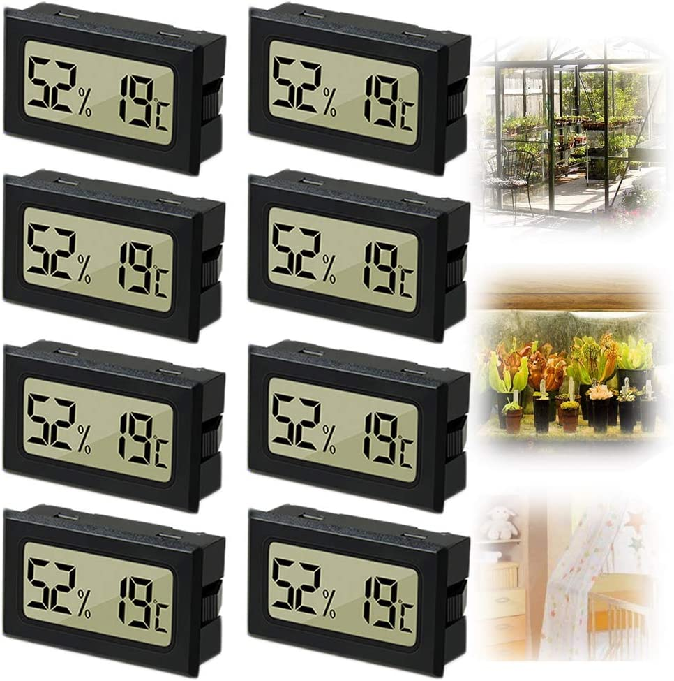 8PCS Mini Hygrometer, Reptile Thermometer and Humidity Gauge, Digital Fahrenheit Temperature Humidity Meter Gauge, LCD Display Indoor Thermometer Hygrometer for Home Reptile Greenhouse and Office