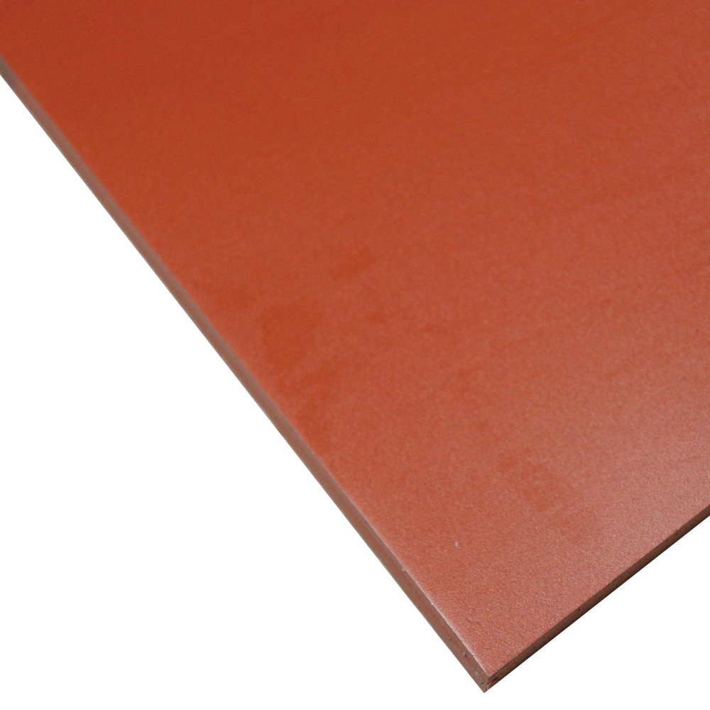 "Silicone Sheet, 70A Durometer, Smooth Finish, No Backing, 0.125"" Thickness, 12"" Width, 12"" Length, Red"