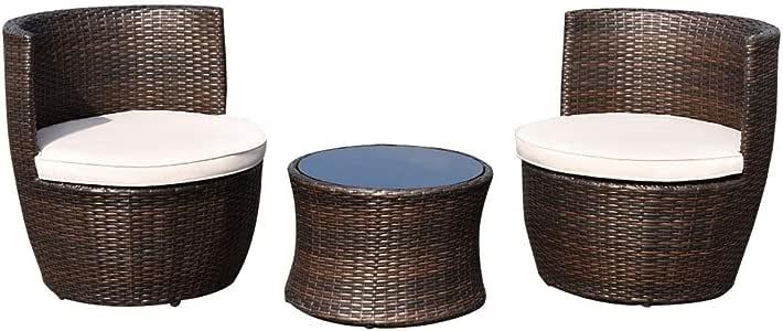Juego de muebles apilables de ratán para patio, 3 piezas, para exteriores, sillas de mimbre, cojines seccionales, sofás, comedores, cafés, jardines, patios, balcones, piscinas, asientos de dos plazas: Amazon.es: Jardín