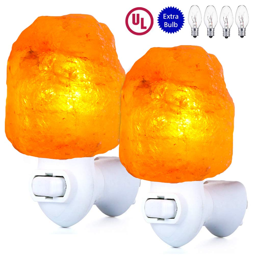 pursalt Himalayan Salt Lamp Night Light Plug in Extra 4 Bulbs Pink Rock Salt Hand Crafted UL certificated 360 Degree Adjustable Wall Plug for Air Purifying, Home Décor, Gifts, Natural Shape 2-Packs by pursalt