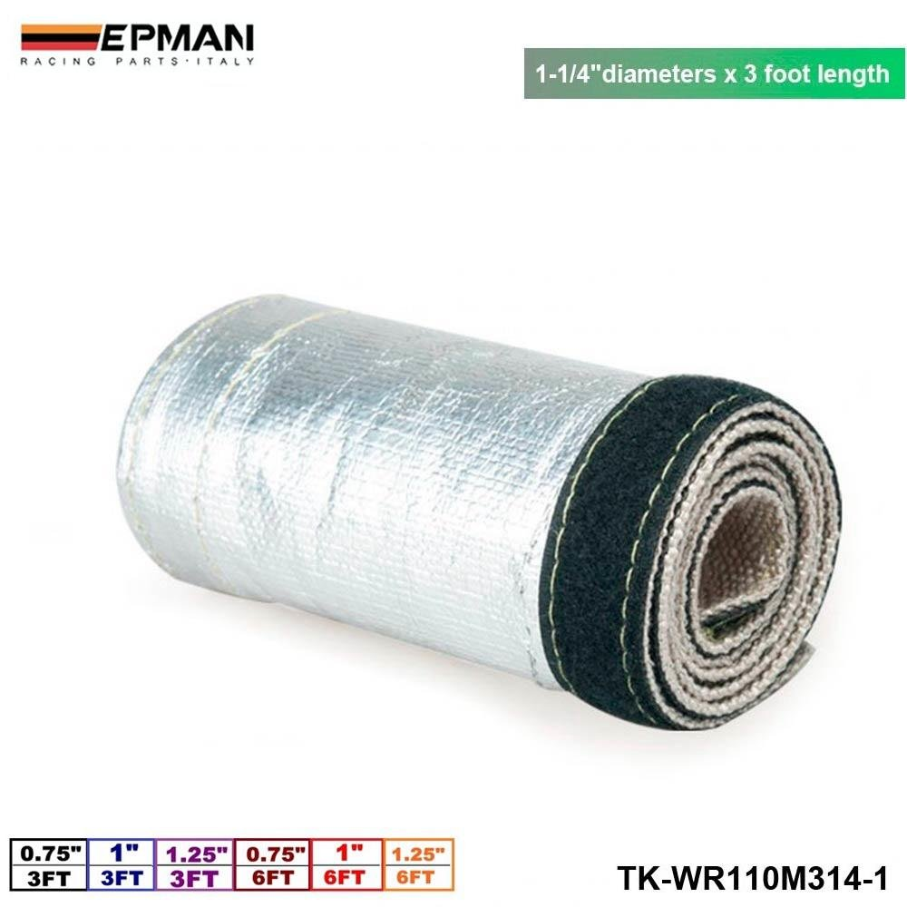 EPMAN 1-1/4''X 3' Aluminum Metallic Heat Shield Thermal Sleeve Insulated Wire Hose Cover Heat Shroud