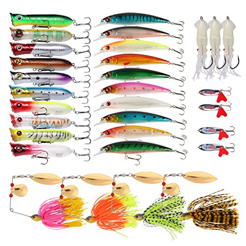 Goture Fishing Lure Set Soft and Hard Lure Including Spinner Baits Minnow Frog Popper Spoon Jigs Jointed Swimbaits for Freshwater Saltwater (Pack of 31)
