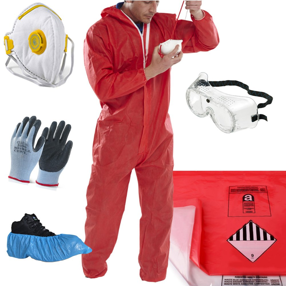 THE CHEMICAL HUT® Red Asbestos Removal Pack - Asbestos Bags (x1 Red + x1 Clear), Large Red Coverall, Large Gloves, Safety Goggles, Disposable Overshoes - Comes with THE CHEMICAL HUT® Anti-Bac Pen