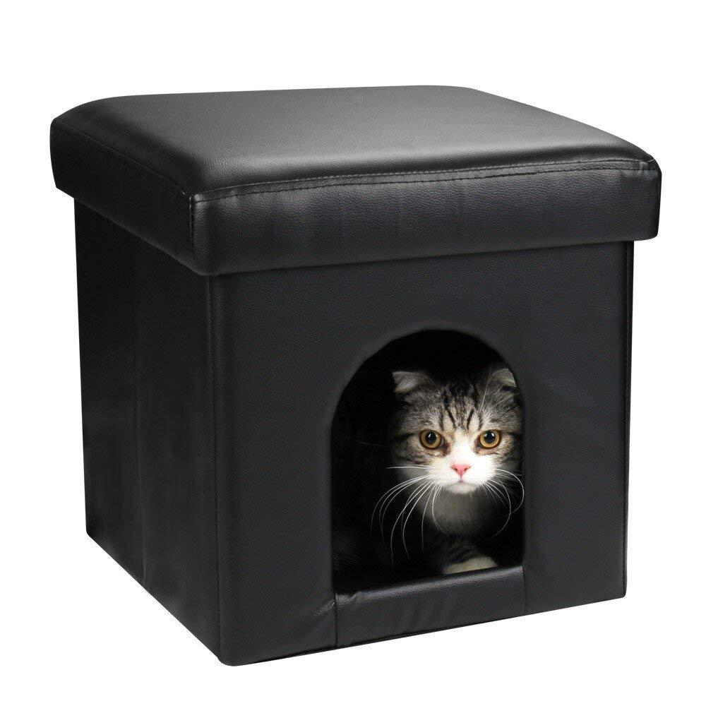 LIXING Cat Osman, Perro Pequeño Apartamento Cama Gato Cubo Pet Casa, 2 En 1 Plegable Cuero De La PU Escabel: Amazon.es: Hogar