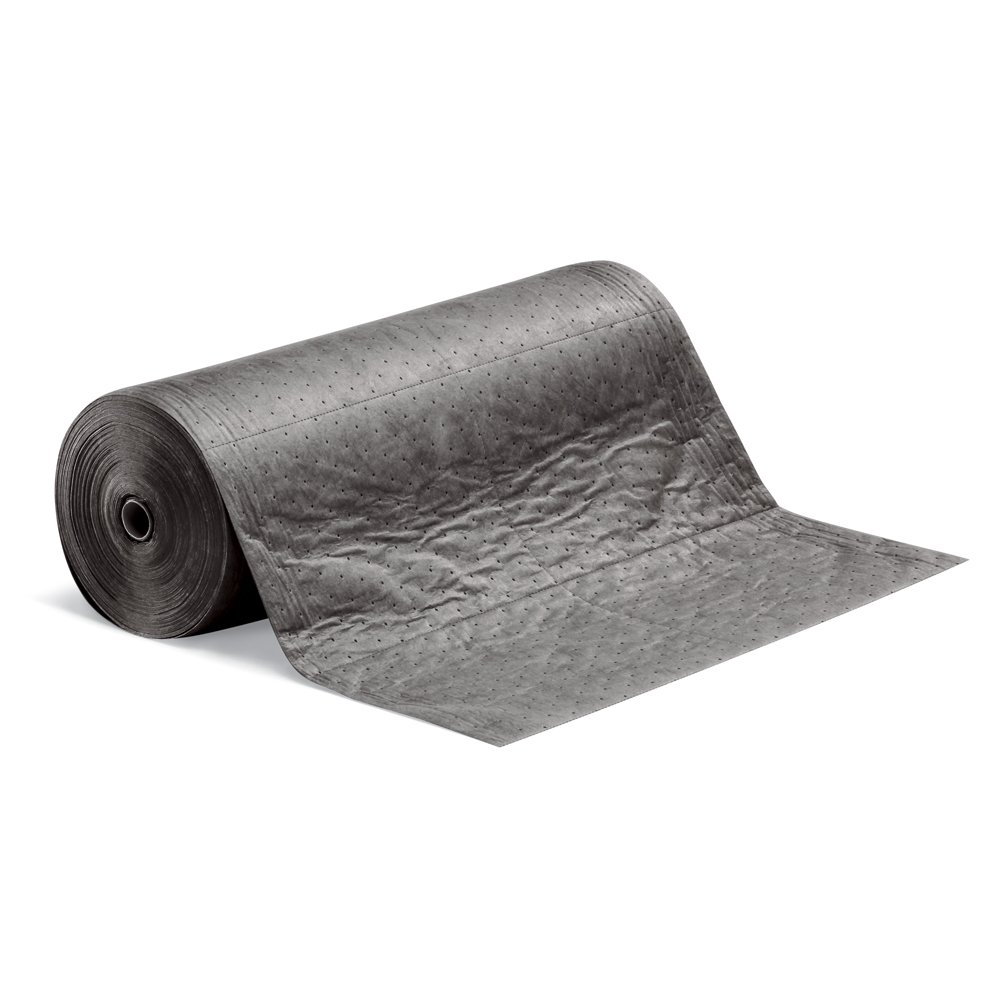 "Absorbent Mat Roll by New Pig, Absorbs Oils, Coolants, Solvents & Water, Lightweight Mat, 20-Gal Absorbency, 150' L x 30"" W, Gray, MAT137"