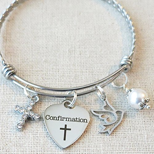CONFIRMATION Gift, Girls Confirmation Charm Bracelet, Religious Cross Jewelry, Religious Dove Charm Bracelet, Confirmation Sponsor Gift