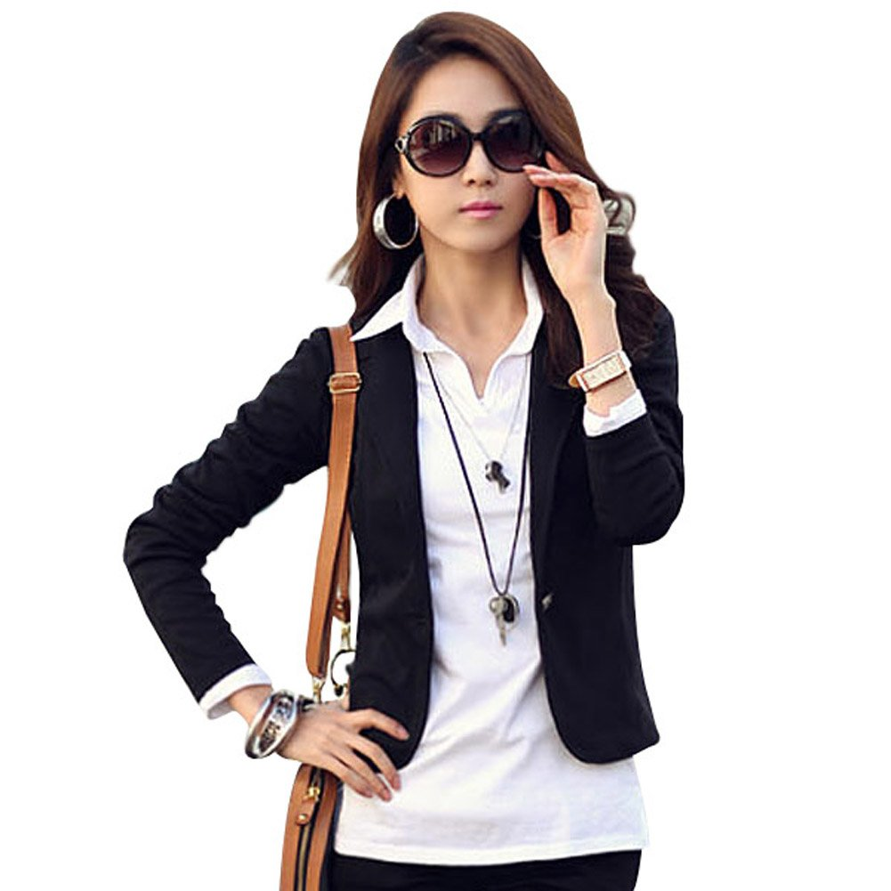 Ajetex Women's Slim Lapel Cotton Office Blazer Size L Color black
